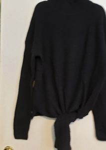 Halogen blk tie waist sweater turtle neck